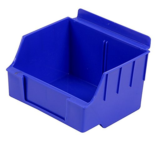 Slatwall Storage / Display bin, Plastic (polypropylene), 4.62''L x 5.5''W x 3.37''H, Blue (20 Pack) Fits grid and pegboard with optional adapters.