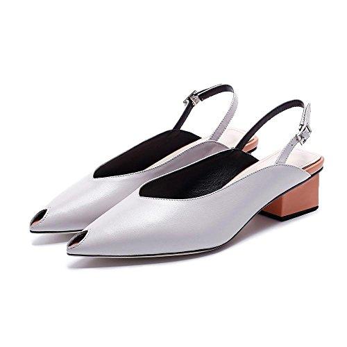 GJDE Zapatos Casuales Sandalias de Verano y Zapatillas Gruesa con Cuero Grey