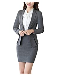 MFrannie Women 3-Pieces Bowknot Blouse Blazer Skirt Slim Fit Office Suit Set