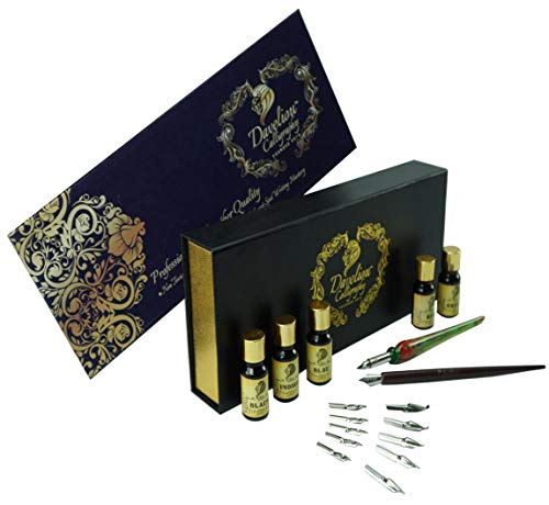 Daveliou Calligraphy Pen Set - 19 Piece Kit & Case - Wood and Free Glass Dipping Pens - 12 Nibs & 5 Ink - for Kids Adults Beginners or Professional
