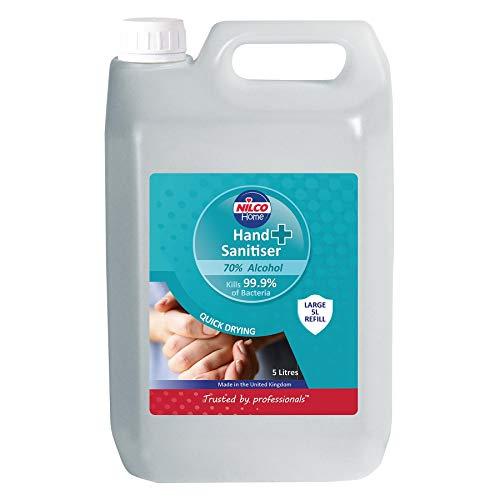 Nilco Hospital Grade Hand Sanitiser 5 litre pack Alcohol 70% ideal for refill made in the UK