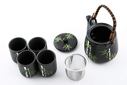 Rattan Handle and 4 Tea Cups Japanese Asian Lucky Bamboo Design Tea Set Ceramic Teapot with Strainer