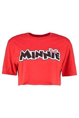 Boohoo Womens Disney Minnie Oversized Crop In Red Size L