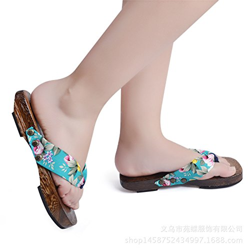 Womens Japanse Stijl Houten Klomp Slippers Schoenen Antislip Floral Muilezels Slippers Houten Geta Sandalen Bloemen Blauw