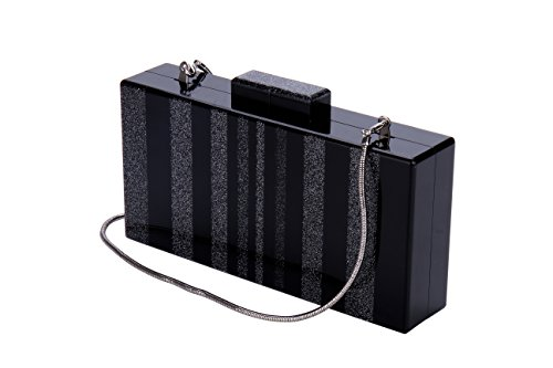 Sequins Black Acrylic Purse Bag Bling Box Clutch for Women Evening Party