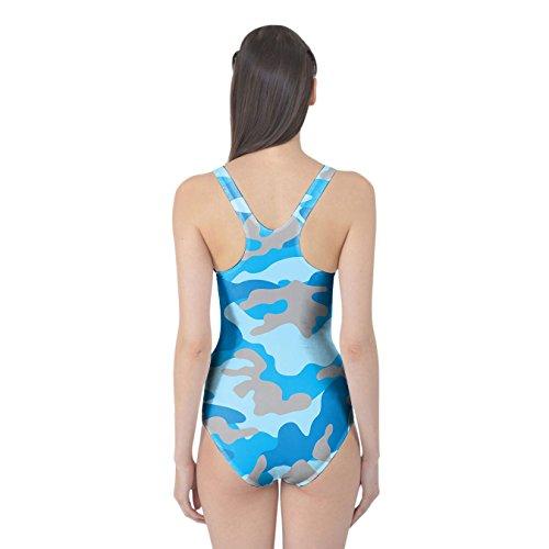 Camuflaje azul brillante de las mujeres Bañador XS-3X L una pieza