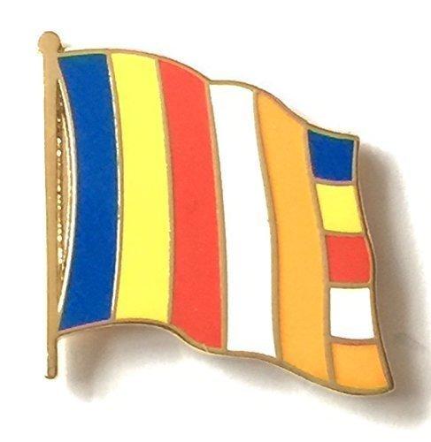 Le Bouddhisme Drapeau national plaqué or avec Pin's (épinglette Badge en émail