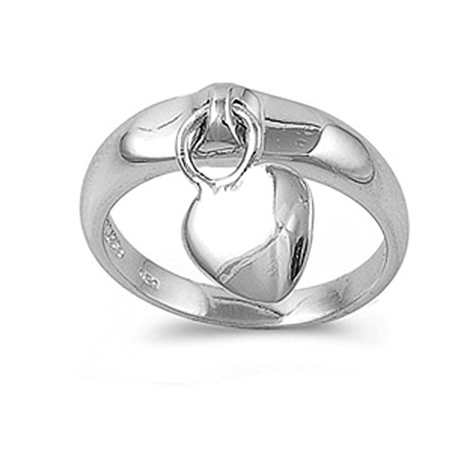 Charm Ring Heart - Sterling Silver Women's Dangling Heart Charm Ring Cute 925 Band 5mm Size 7