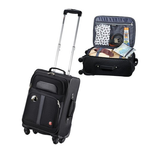 UNC Pembroke Wenger 4 Wheeled Spinner Black Carry On 'Primary Mark' by CollegeFanGear