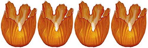 Biedermann & Sons Pearlized Amber Glass Floral Votive Holder, Box of (Orange Candle Holders)