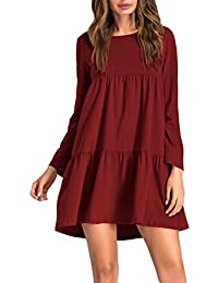 Womens Long Sleeve Loose Dress Round Neck Pleated Swing Casual Dresses