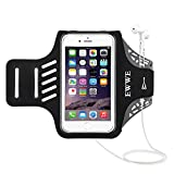 EWWE Water Resistant Sports Armband Arm Case Holder 5.5 inch iPhone 8/7/6/6S Plus, Galaxy S9/S8/S6/S5, S9 Plus, S8 Plus, Note 4 Bundle - Adjustable Reflective Velcro Workout Band, Screen Protector