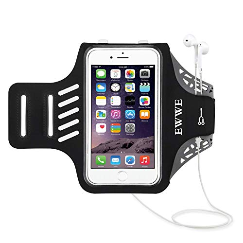 EWWE Water Resistant Sports Armband Arm Case Holder 5.5 inch iPhone 8/7/6/6S Plus, Galaxy S9/S8/S6/S5, S9 Plus, S8 Plus, Note 4 Bundle - Adjustable Reflective Velcro Workout Band, Screen Protector by EWWE