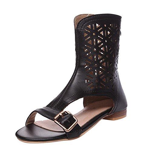 Stylish Boots Flat Black Carolbar Summer Pattern Women's Buckle Western Zip Hollow wqx4PCT