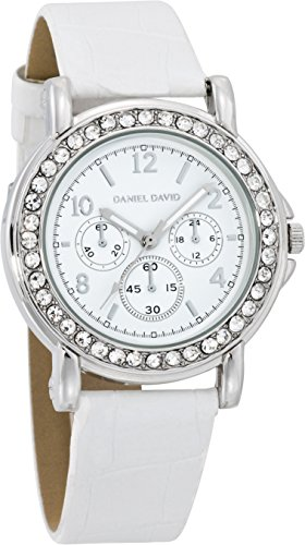 Bezel Silver White Leather (Daniel David Women's | Glamourous Silver-Tone White Leather Watch | HA0473)