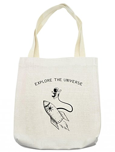 Outer Space Costume Ideas (Lunarable Outer Space Tote Bag, Explore The Universe with Spaceship and Astronaut in Doodle Style, Cloth Linen Reusable Bag for Shopping Groceries Books Beach Travel & More,)