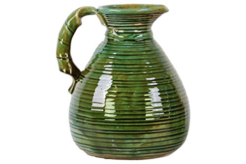 Urban Trends Ceramic Pitcher with Round Belly Grapes Body and 1 Side Handle Washed, Gloss Green