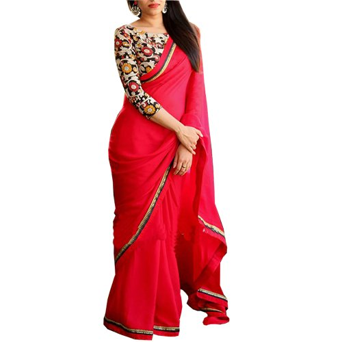 b09209044025a Rozdeal Women s Georgette Border Work Red Plain Saree  Amazon.in  Clothing    Accessories
