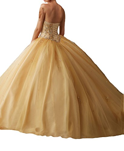 60867910fb3 BoShi Women s Sweet 16 Beads Wedding Party Christmas Quinceanera Dresses 2  US Gold by Unknown (