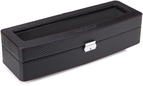 Diplomat 31-447 Carbon Fiber Six  Watch Case with Black Suede Interior and See Through Top  Watch Case
