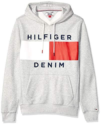 Tommy Hilfiger Men's THD Hoodie Sweatshirt, Light Grey Denim Heather, XXL ()
