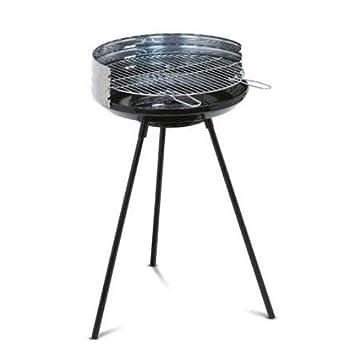 Algon AB03, Barbacoa con bandeja de acero inoxidable, negro, 66 cm de altura: Amazon.es: Jardín