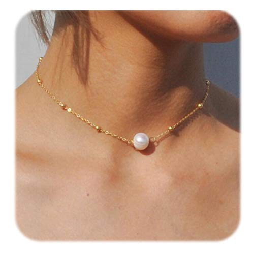 So Pretty Freshwater Pearl Choker Necklace for Women Dainty Single Pearl Pendant Gold Beaded Chain Necklace