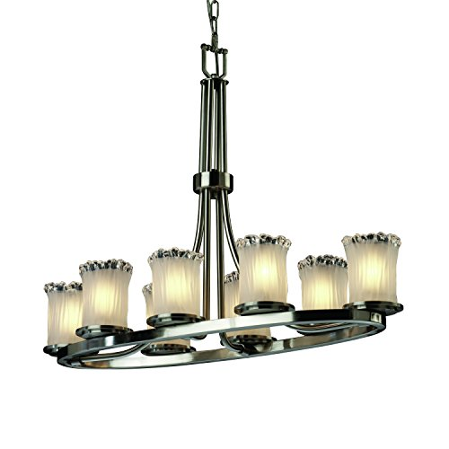 - Justice Design Group Lighting GLA-8751-16-WTFR-NCKL Veneto Luce 8-Light Chandelier - Brushed Nickel Finish with White Frosted Venetian Glass Shade, 38