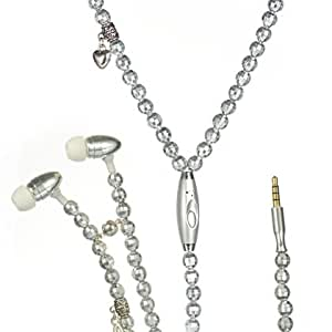Sliver Pearl Necklace 3.5MM Handsfree Headset /Mic for LG G2 (Verizon) + Keychain Tool