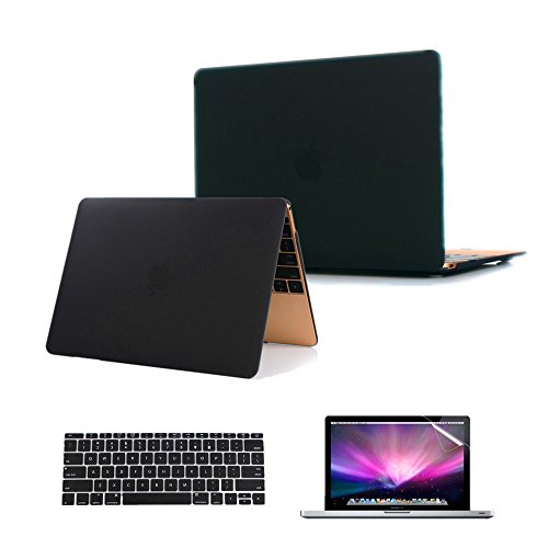Hard Case Lcd Film (Se7enline 3 in 1 Model A1534 Macbook 12'' Laptop Computer [2015 Release] Case Cover Multi colors Soft-Touch Plastic Hard Case Cover Surper Slim fit for Macbook inch Retina Display, color Black +Silicone Keyboard Protector +Clear LCD Screen Protector)