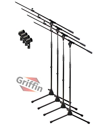 Telescoping Tripod Microphone Boom Stand with Mic Clip (Pack of 4) by Griffin | Premium Quality for Studio, Karaoke, Live Performances, Conferences | Portable with Collapsible Legs & Removable Arm