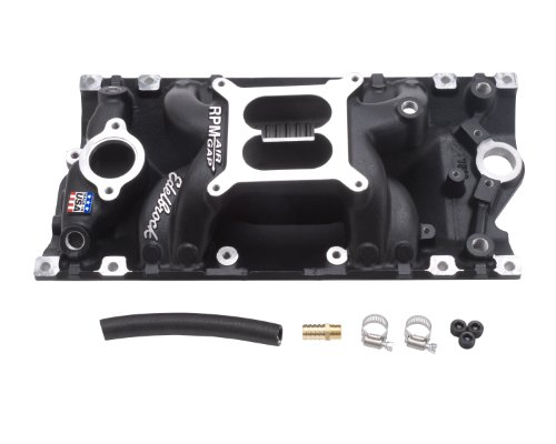 Edelbrock 75163 RPM Air Gap Vortec Intake Manifold; Black; Chevy Small Block 262-400; For 4 bbl Carbs; Non-EGR; 1500-6500rpm;
