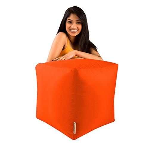 Bean Bag Bazaar Bar B CUBE Pouf Tabouret orange–Utilisation en intérieur et extérieur–Imperméable sacs de haricots
