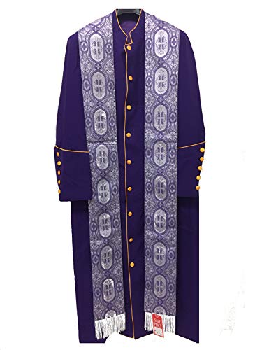 Clergy Robe, Cassock, Pastor Robe, Bishop Robe - Purple - Violet - Purple Gold - Lavender (40, Purple Robe + ()
