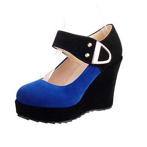 whith Pumps Assorted Colors PU High Metalornament Toe Blue Heel Platform VogueZone009 and Round Womens Closed 8zwq4a