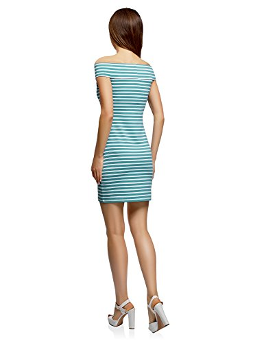 Turquesa Mujer con oodji Abiertos Ultra de Vestido 7310s Punto Hombros xRU5gn8Uw