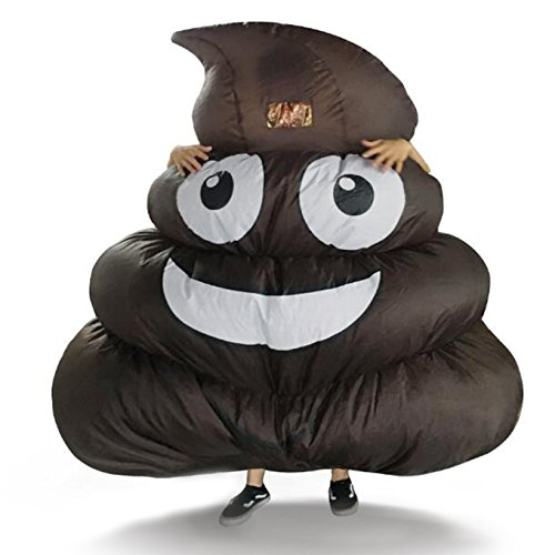 Poop Costumes (DREAMOWL Inflatable Giant Poop Emoji Costume for Adult Kids Halloween Party Game)