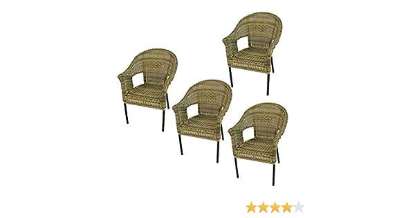 Pack 4 sillones jardín de Aluminio y ratán sintético Color Natural, Apilable, Diseño rústico, Tamaño: 62x66x86 cm