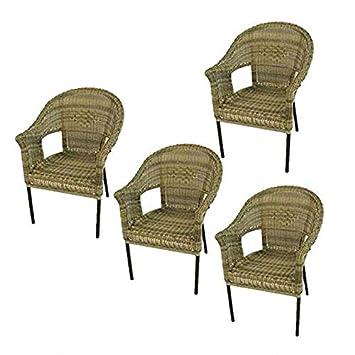 Pack 4 sillones jardín de Aluminio y ratán sintético Color Natural | Apilable | Diseño rústico | Tamaño: 62x66x86 cm | Portes Gratis