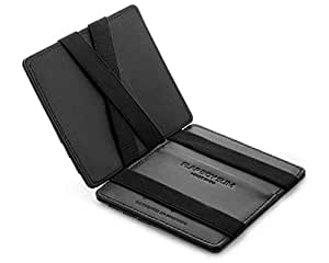 JAIMIE JACOBS ® Magic Wallet Flap Boy Slim - The Original - Slim Wallet, RFID Blocking Wallet, Genuine Leather, Card Wallet, Credit Card Holder, Travel Wallet, Bifold Wallet Men (Black)