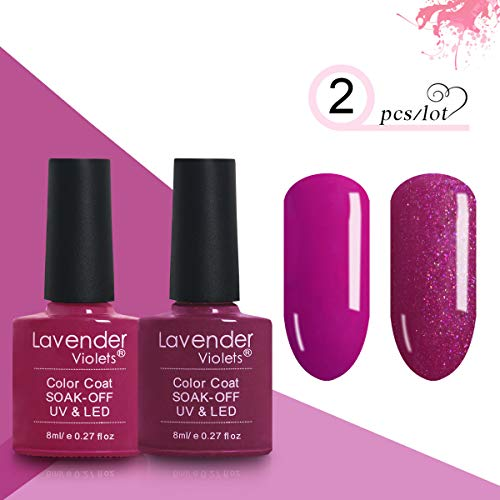 Soak-off LED UV Gel Nail Polish Kit of 2 Color Gel Lacquer 0.27 FL OZ Lavender Purple