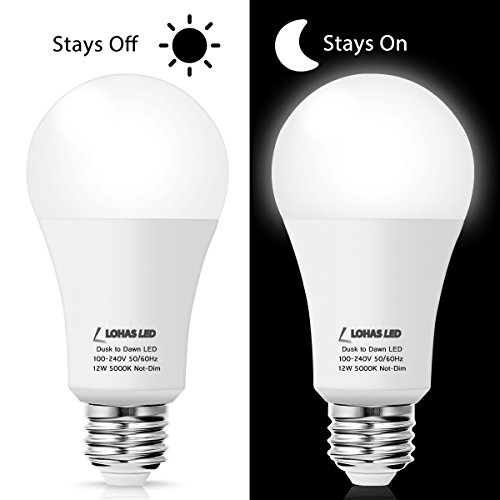 LOHAS A19 Dusk to Dawn Sensor Light Bulb LED, 75Watt - 100Watt Light Bulb Equivalent, Smart Sensor Daylight White 5000K Edison Bulb E26, Indoor Outdoor Security Light for Garage Porch Warehouse(2Pack)