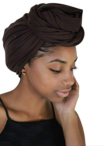 Rayna Josephine Stretch Head Wrap - Long Solid Color Turban Hair Scarf Tie (Mahogany Brown) ()