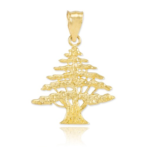 High Polish 14k Yellow Gold Cedar Tree Charm Pendant