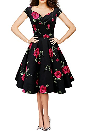 Black Butterfly 'Ruby' Red Rose Vintage Infinity Swing Dress