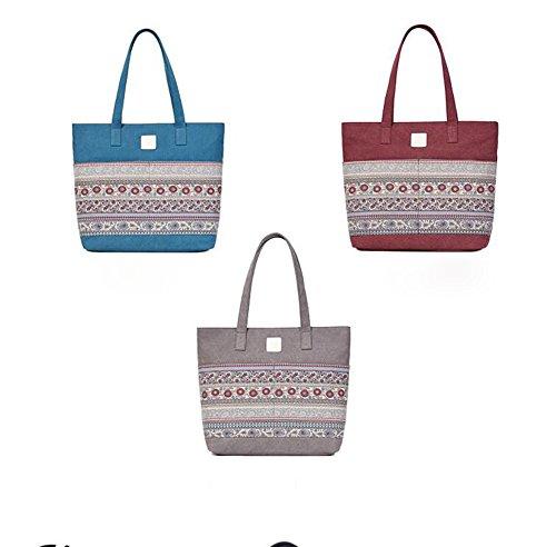 Femminile Tempo Blu Vento Il Shopping Borsone Tela Donne Rosso Sacchetto Per Nazionale Di Lxyiun Svago Dello Moda Libero W6Uxgz