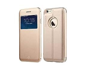Funda de Protección Flip Cover Con Ventana oro para iPhone 6