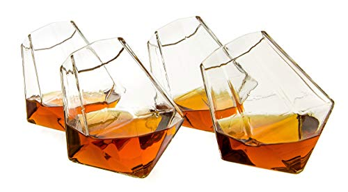 The Wine Savant Diamond Whiskey, Scotch, Bourbon or Wine Glasses, Set of 4