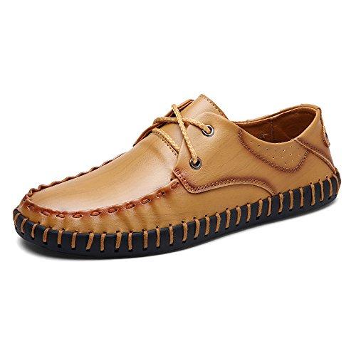 Eastlion Men's Leather Lace Up Boat Shoes Loafer Slip On Deck Shoes Brown