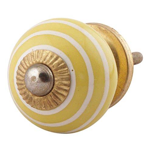 Indianshelf Handmade 4 Piece Home Stripe Yellow Ceramic Cabinet Knobs Artistic Rust Free Drawer Pulls ()